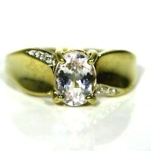 Stunning Morganite 9ct Yellow Gold ring size N ~ 6 3/4
