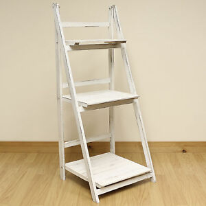 3 Tier White Wash Ladder Shelf Display Unit Free Standing