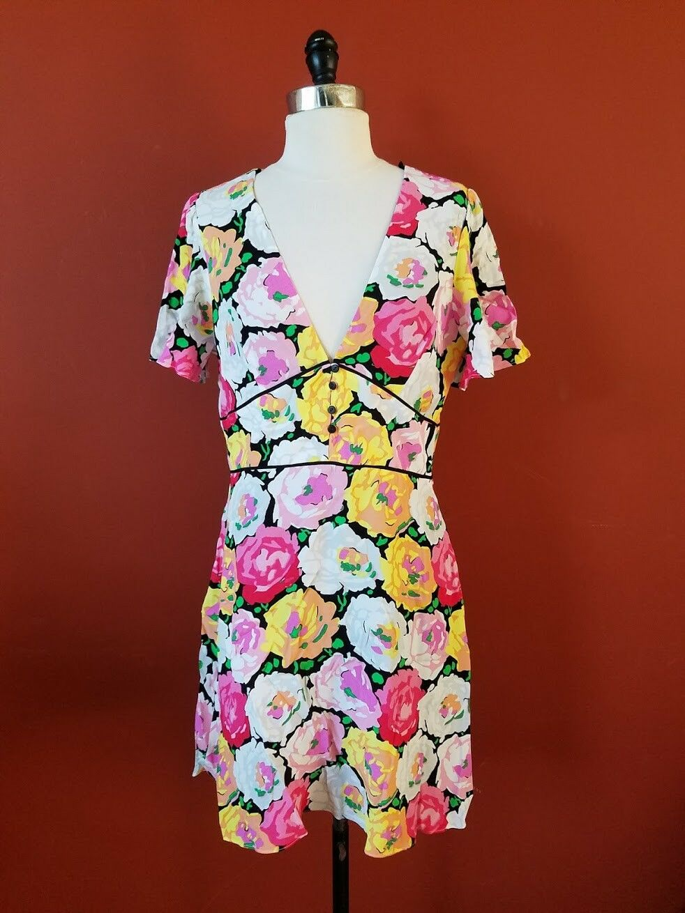 NEW ZARA MULTICOLOR PINK FLORAL PRINT SURPLICE FLOWY FLARED SKIRT DRESS L