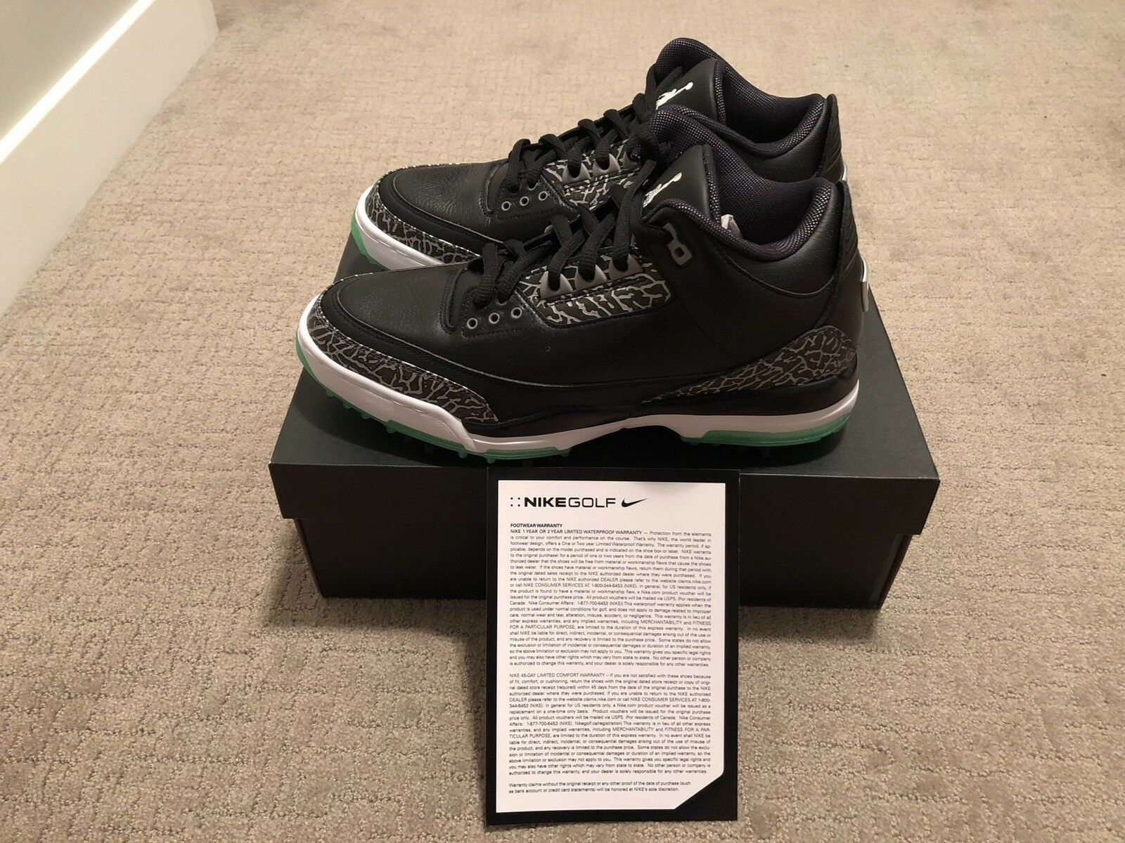 Nike Jordan Retro 3 Golf Shoe Black Green Glow Size 9.5   IN HAND