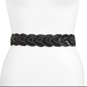 Glint-Nordstrom-Palmetto-Embellished-Stretch-Snap-Back-Belt-Sz-M-L