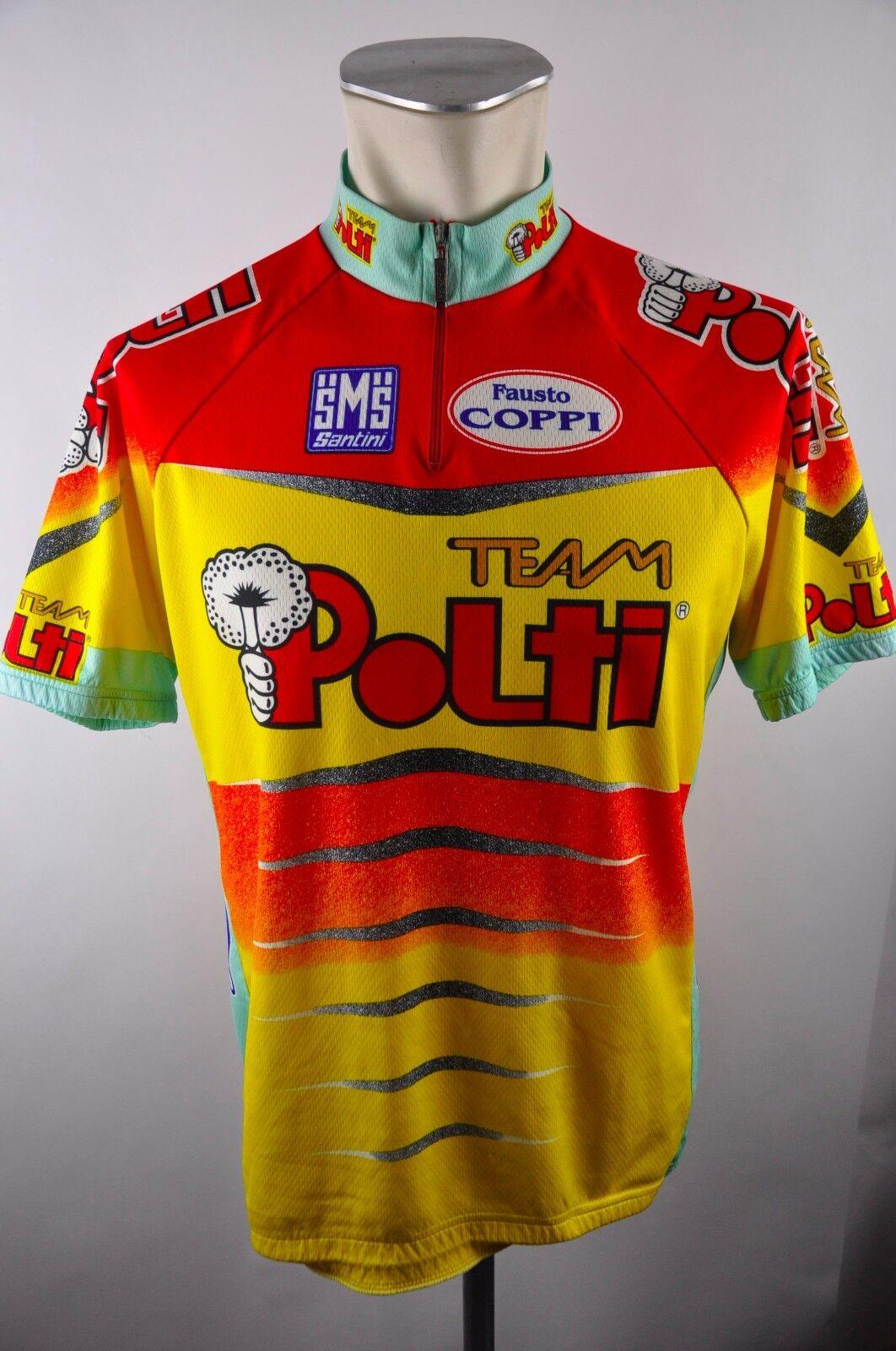 Santini Team Polti vintage cycling jersey maglia Rad Trikot Gr. XXL 58cm 13B