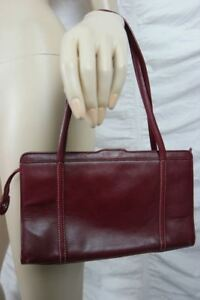 ANN-TAYLOR-oxblood-burgundy-red-100-leather-small-satchel-handbag-EUC