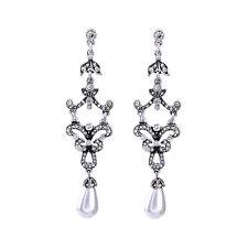 Boucles d`Oreilles CLIP ON Argenté Chandelier Art Deco Fin Perle Mariage X16