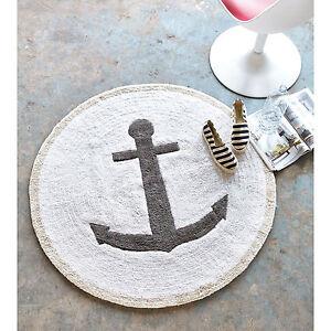 Teppich Maritim badteppich badvorleger badematte teppich maritim anker natur rund 2
