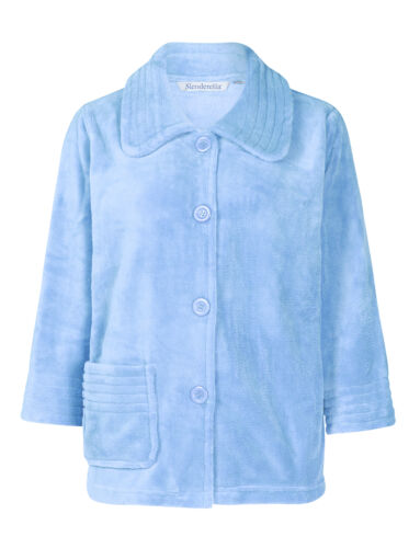 1 of 11 Slenderella Womens Button Up Soft Fleece Bed Jacket Peter Pan Collar  Housecoat fb2875b22