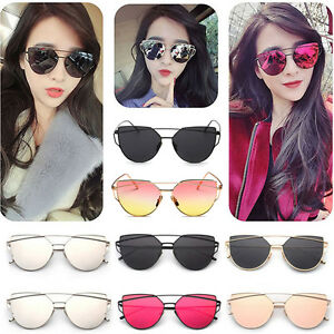 cd9d0930d812 Women Flat Lens Mirror Metal Frame Oversized Cat Eye Sunglasses ...