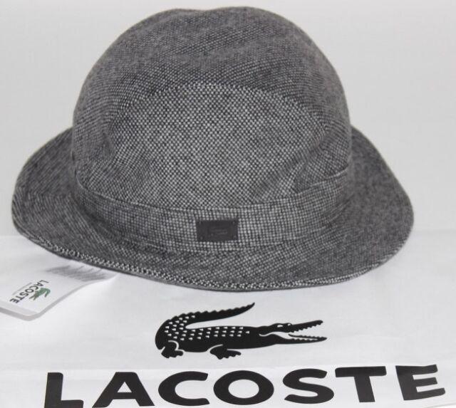 NWT LACOSTE Medium Women s Black White Tweed Wool Blend Leather GATOR Bucket  Hat fa1ba98096b