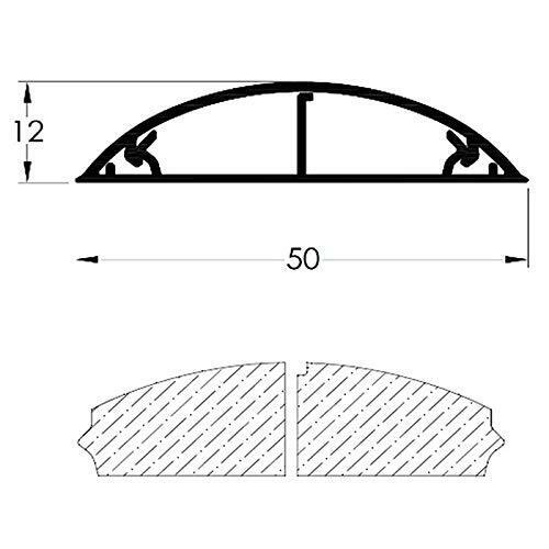 1m Kabelkanal 70x20mm Wand Boden TV Fussboden halbrund selbstklebend Kabelbrücke