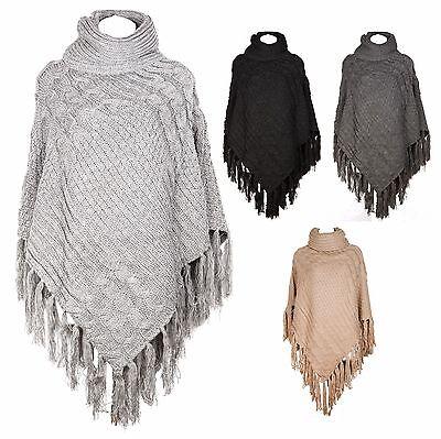 Women/'s Polo Neck Knit Poncho Warm Thick Sweater Cape Winter