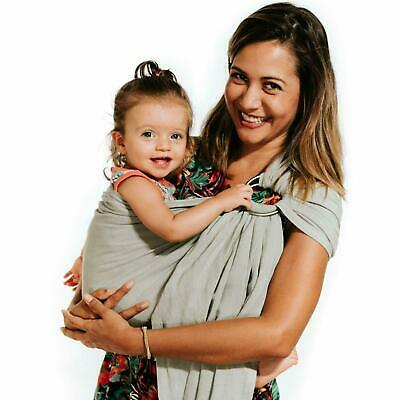 Perfect Baby Shower Gift Nursing Cover for Newborns Lightweight wrap Nalakai Luxury Ring Sling Baby Carrier Extra-Soft Bamboo and Linen Fabric Storm Cloud Infants and Toddlers