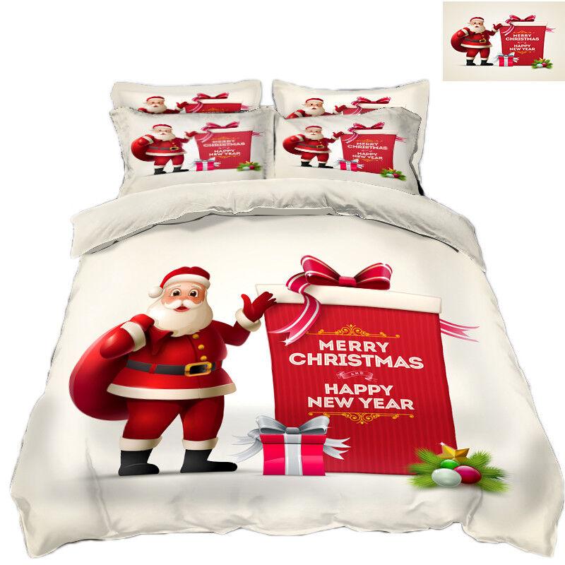3D Christmas Xmas Man 6532 Bed Pillowcases Quilt Duvet Cover Set Single KingUK