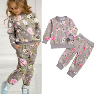 2PCS-Toddler-Kids-Baby-Girls-T-shirt-Tops-Pants-Floral-Outfits-Clothes-Tracksuit