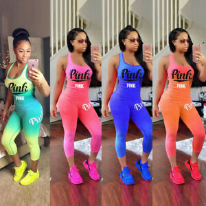 Women-Skinny-Sports-Outfits-Sets-Tracksuit-2-Piece-Pink-Print-Stretchy-Tank-Tops