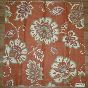 Thibaut-ALEXA-Orange-25x26-034-Floral-Vine-Upholstery-FABRIC-SAMPLE-Cotton-Linen