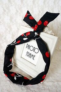 Women-Lady-Girl-Cherry-Retro-Wire-Bunny-Ear-adjustable-bow-scarf-Hair-head-band