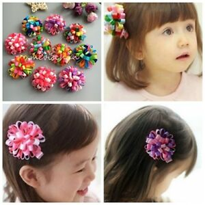 10pcs//lot Kids Baby Girls shiny flowers hair clips Children hairpins accessories