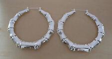 """Silver Bamboo Hoop Earrings 2.5"""" / 65 mm Diameter"""