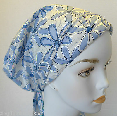 Cancer Chemo Hat Hairloss Scarf Turban Headwrap Blue Summer Daisy Alopecia Cap