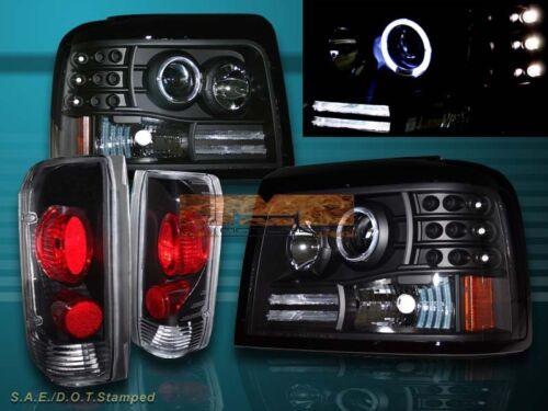 92-96 FORD BRONCO F150 BLACK HALO LED PROJECTOR HEADLIGHTS TAIL LIGHTS BLACK