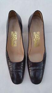 Chaussures Marron Femme En 38 Crocodile De Cuir Taille Salvatore Ferragamo cL5j34qAR