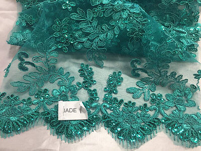 Metatron Teal Corded Flower Embroider With Sequins On Mesh Lace Fabric Yard
