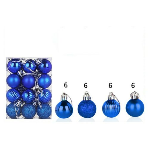 24PCS Christmas Xmas Tree Ball Bauble Hanging Home Party Ornament Decor 30mm FER