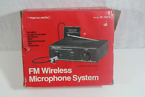 realistic fm wireless microphone system cat no 32 1221a 49 83 mhz mike ebay