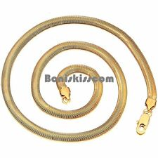 Hypoallergenic Gold Tone Stainless Steel Flat Snake Chain Men's Necklace 23 Inch