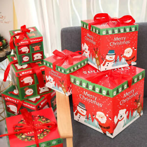 Details About Christmas Eve Gift Box Large Xmas Present Wrapping Boxes Ribbon Lids Supply Uk