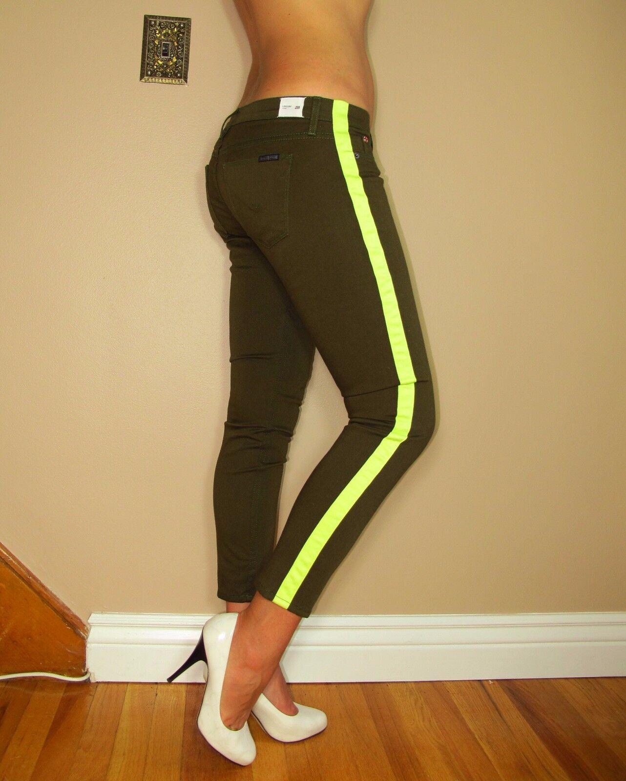 Hudson  187 Loulou Chopin Neon Dark Olive Army Green Tuxedo Skinny Jeans 28 NWT