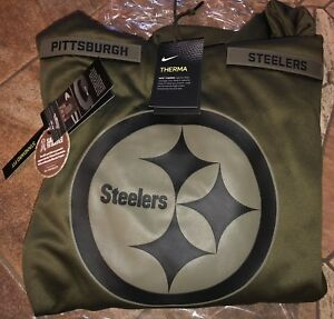 the latest 5ef85 c317c Details about PITTSBURGH STEELERS Salute to Service Therma Fit Hoodie 2018  Nike Military STS