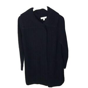 WHITE-WARREN-Wool-Blend-Black-Wrap-Front-Women-039-s-Cardigan-Sweater-Size-Small