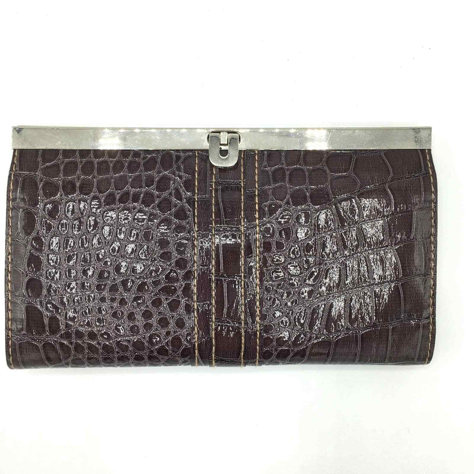 NWT ROSETTI Vegan Patent Leather Croc Embossed Brown Wallet 5 inner compartments