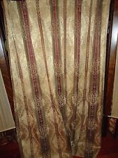 CROSCILL TOWNHOUSE BURGUNDY GREEN GOLD STRIPE FABRIC SHOWER CURTAIN  67 X 72