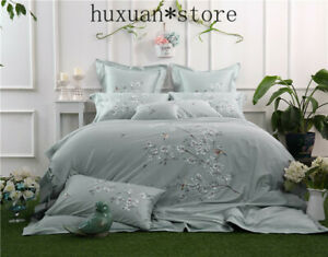 WhiteTencel Silk Luxury Bedding Set Queen King Bed Set Soft Embroidery Duvet
