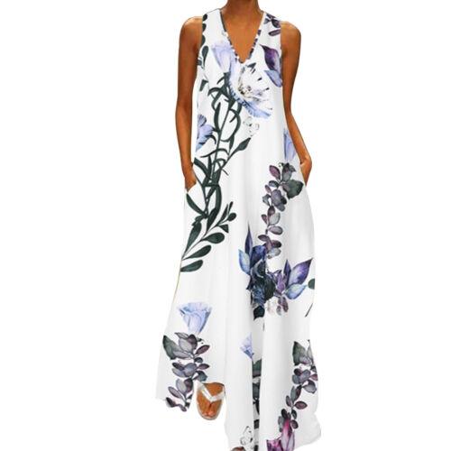 Womens Sleeveless Bohemia Long Maxi Dress Summer Beach Party Sundress Plus Size
