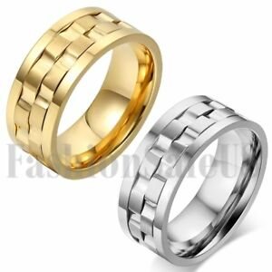 Men-039-s-Wide-Gold-Silver-Tone-Stainless-Steel-Rotatable-Wedding-Band-Ring-SZ-7-13