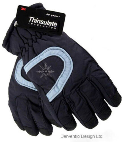 Girls Boys Thinsulate Ski Gloves Warm Winter Gripper Palm Blue Pink 4-8 /& 9-12