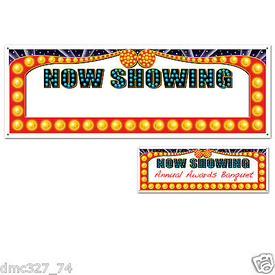 "HOLLYWOOD Movie Night Awards Party Decoration NOW SHOWING SIGN BANNER 60"" x 21"""