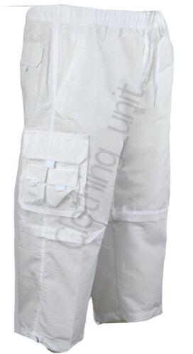 Mens 3//4 Elasticated Waist  Long Zip off Shorts 2 in 1 Cargo Combat 7 Pockets