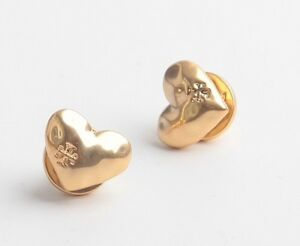 79cdd4490 AUTHENTIC TORY BURCH HEART STUD EARRINGS-VINTAGE GOLD -RV $88-NEW ON ...