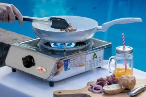 Single Wok Burner Cooker LPG Gas Hose Regulator Portable Bench top Camping BBQ