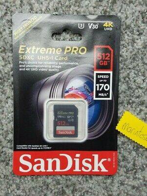 U3 Class 10 Up to 170 MB//s SanDisk Extreme PRO 512 GB SDXC Memory Card V30