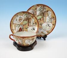 Quality Antique Japanese Kutani Porcelain Cup & Saucer & Plate Meiji Eggshell #C