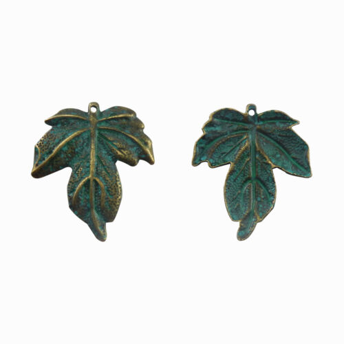 5pcs Alloy Jewelry Making Vintage Bronze Maple Leaf Look Pendant Charms 52081