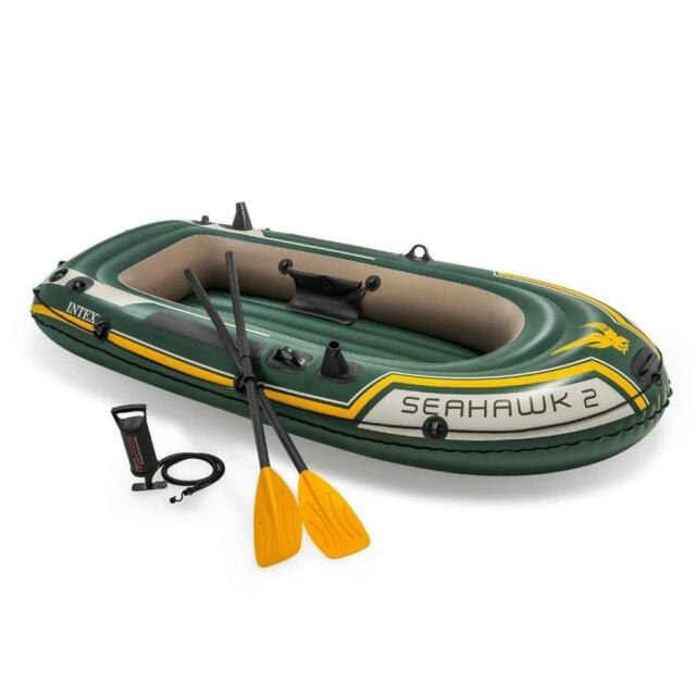 Intex Seahawk 2 Two Person Inflatable Fishing Boat Raft 2 Oars Pump Rod  Holders