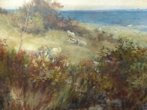 WATERCOLOUR-SHEEP-ON-THE-HILLSIDE-ARTIST-CARL-OTTO-HIRSH-FREE-SHIPPING-ENGLAND