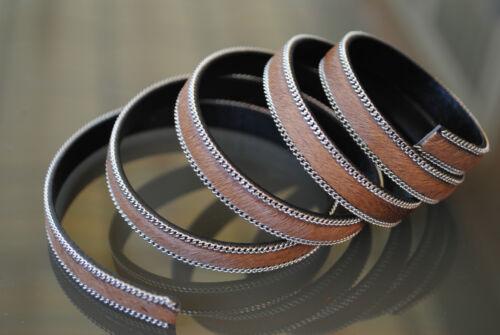 80 cm de Piel de Potro sintetico 10mm MARRON PLATEADO cuero pulseras cadena