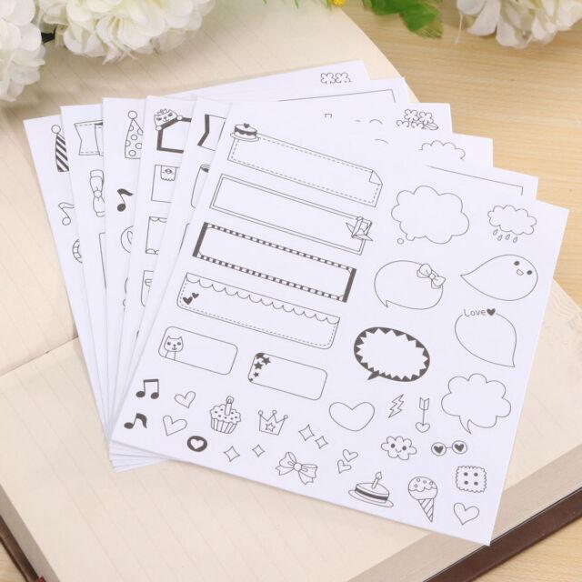 6 Sheet Calendar Paper Sticker Scrapbook Calendar Diary Planner Decor